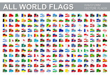 All World Flags - Vector Set Of Waveform Flat Icons. Flags Of All Countries And Continents