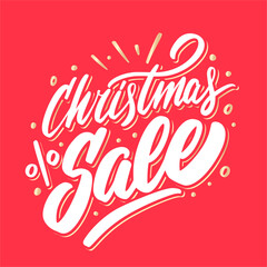 Christmas sale. Vector lettering banner.