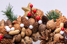 Christmas Decorations With Pine Cones And Nuts