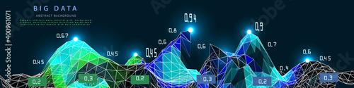 Photo Abstract background with wireframe polygonal analyze algorithm data