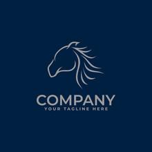 Horse Logo With Minimalistic Line Art