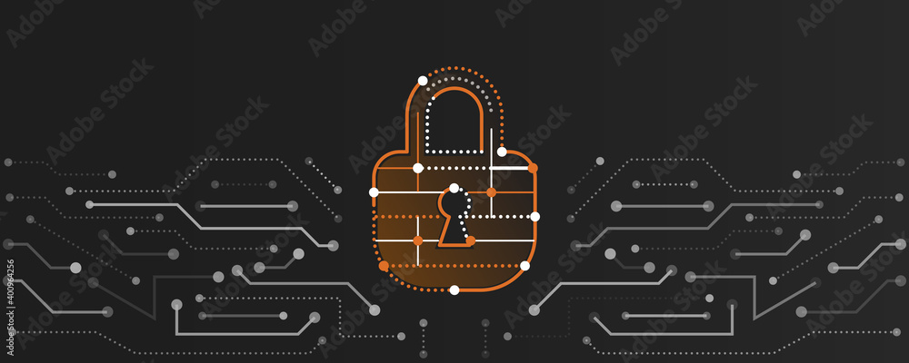Fototapeta Modern Cyber security for business and internet project. Vector illustration of a data security services. Data protection, privacy, and internet security concept.