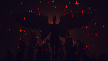 Devil Women Black Demon Fallen Angel With Red Eyes Surrounded By Lesser Demons And Upside Down Red Crosses Gates Of Hell 3d Illustration Render