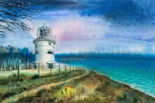 Seascape Watercolor. Lighthouse On A Mountain By The Sea, Cloudy Day, Gloomy Clouds, Dry Tree Branches On The Side, A Fence.