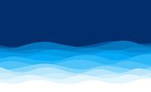 Blue Wave Curve Smooth Flowing Background Vector Illustration.