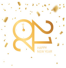 Happy New Year 2021 - New Year  Background With Gold Clock And Wishes. Premium 2020 Logotype, Sign, Logo, Symbol With Golden Numbers.  Elegant Eve Party Banner Design, Vector Icon For Calendar.