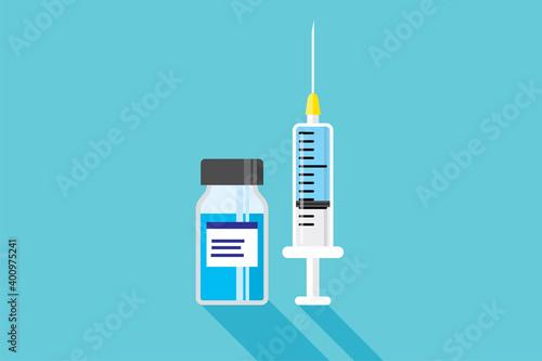 Canvas Print ワクチン注射器、ウイルス感染予防 Vaccine injection,  virus protection