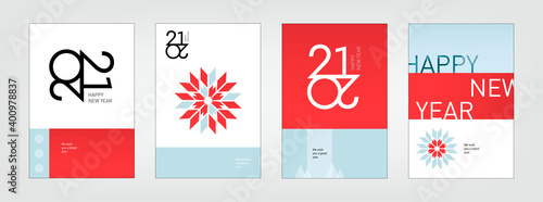 Fototapeta 2021 holiday Christmas, New Year template. Creative geometric background. Party illustration, cover, banner, announce. Sign, icon. Greeting card with text, flat trendy white, blue, red design. obraz