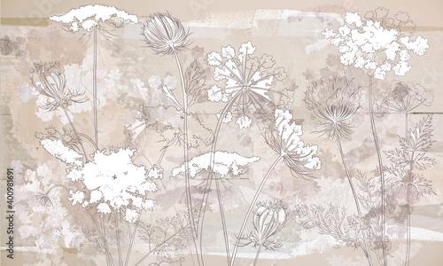 Tapety Loftowe  graficzne-polne-kwiaty-namalowane-na-brazowej-betonowej-scianie-grunge-kwiatowe-tlo-w-loftowym-nowoczesnym-stylu-projekt-fototapety-karty-pocztowki-tapety-fototapety