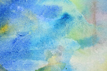 Delicate Blue Background With Watercolors, Paper Texture