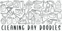Cleaning Day, Doodle Icon Set. Chores Style Vector Illustration Collection. Clean Tools Banner Hand Drawn Line Art Style.