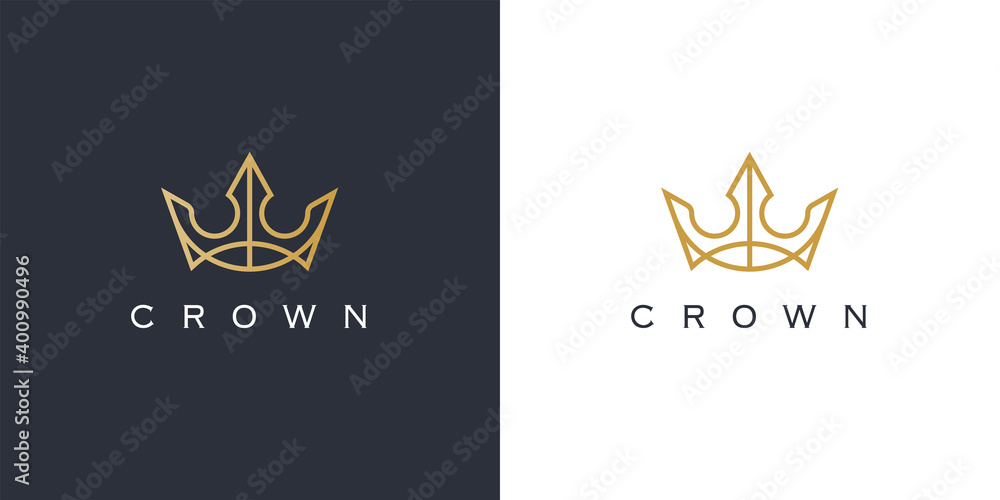 Fototapeta Premium style abstract gold crown logo symbol. Royal king line icon. Modern luxury brand element sign. Vector illustration.
