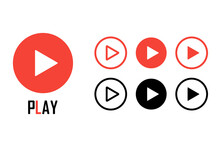 Play Buttons Set. Media Playback Arrow Icon. Play Button. Web Symbol. Vector Illustration