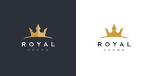 Premium Style Elegant Gold Crown Logo Symbol. Royal Company Icon. Modern Luxury Brand Element Sign. Vector Illustration.