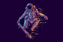 Astronaut Skateboard Fly Illustration For T Shirt Design