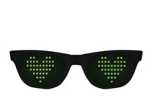 Black Glasses With Led Light Heart Icon. Vector