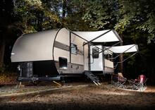 Travel Trailer At A Camp In North Carolina