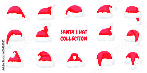 Set of Santa Claus hats isolated on white background. Christmas bright, red Santa Claus hats with fur around the lettering. Vector illustration