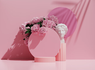 3D podium display, pastel pink background with flowers. White  Greek woman, stone statue. Round  pedestal stand. Cosmetic Product presentation. Peonies and palm leaf shadow. Nature, abstract 3D render