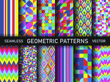 Set Of Seamless Vector Multicolor Geometric Shapes Patterns. Collection Of Stylish Abstract Backgrounds For Fabric, Textile, Web, Cover, Wrapping Etc. 10 Eps Deign.