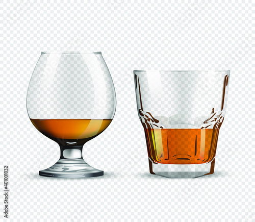 Fotografie, Obraz Two glasses for whiskey and rum isolated on transparent background realistic glass with carbonated drink, celebration concept
