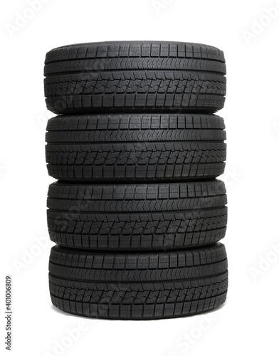 Fototapeta Car tires isolated on white obraz