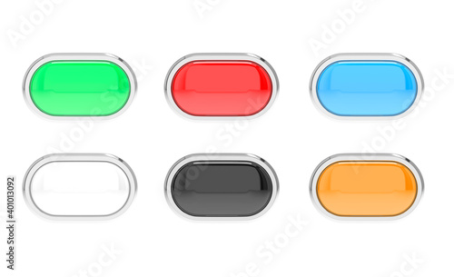 Fotografie, Obraz Colored glass buttons with chrome frame. Web oval 3d icons