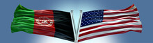 Double Flag United States Of America Vs Afghanistan Flag Waving Flag With Texture Background