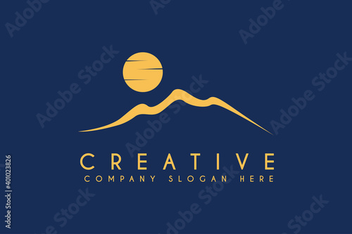 Photo Desert logo design with moon or sun vector illustration