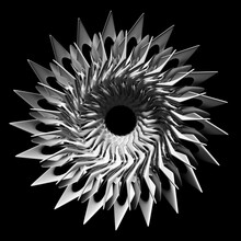 3d Render Of Abstract Art Of Surreal Black And White Poisoned Creepy Spooky Halloween Symmetry Star Flower Or Turbine Jet Engine With Sharp Blades In White Matte Plastic With Silver Metal Parts