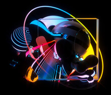 3d Render Of Abstract Art With Surreal Flying Meta Balls Cubes And Rings Or Festive Party Balloons With Parallel Lines Pattern On Surface With Neon Glowing Pink Yellow And Blue Color Lights On Black