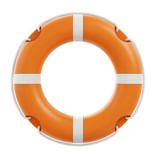 Rescue Ring. 3D-rendering Graphic Representation Of An Orange Lifebuoy, Which Is Isolated On White Background.