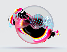 3d Render Of Abstract Art Of Composition With Surreal Flying Rubber Balls Spheres Bubbles Or Festive Party Balloons With Black Parallel Lines Pattern On Surface With Neon Glowing Purple And Blue Light