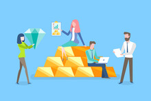 Teamwork Of People With Money Vector, Gemstone Diamond, Man With Laptop Programing And Coding, Precious Assets And Materials, Female And Male Working