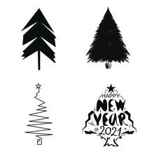 Christmas Tree Logo Icon Sign New Year Decoration Xmas Star Spruce Symbol Emblem Hand Drawn Modern Design Cartoon Children's Style Fashion Print Clothes Apparel Greeting Invitation Card Cover Flyer