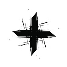 Cross Logo Icon Sign Hand Drawn Grunge Ink Sketch Geometric Decoration Concept Modern Style Design For Military Equipment Flag Games Fashion Print Clothes Apparel Greeting Invitation Card Poster Flyer
