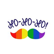New Year Lgbt Pride Mustache Logo Icon Sign Santa Claus Xmas Lettering Symbol Emblem Hand Drawn Design Human Rights Tolerance Fashion Print Clothes Apparel Greeting Invitation Card Banner Poster Flyer