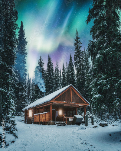 Leinwand Poster Aurora borealis over wooden cottage with smoke on snow in pine forest at Yoho na