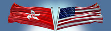 Double Flag United States Of America Vs Hong Kong Flag Waving Flag With Texture Background