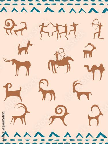kazakh petroglyphs of animals and hunters
