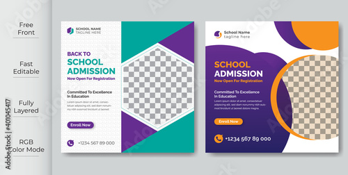 Fototapeta School Students Admission social media post, promotional discount Back to school admission social media post banner template Design.Back to School admission by social media Instagram,Facebook post kit obraz