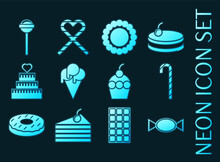 Set Of Confectionery Blue Glowing Neon Icons.