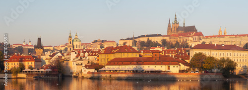 Obraz Prague - The Mala Strana, Castle and Cathedral from promenade over the  Vltava river in the morning light. - fototapety do salonu