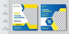 School Students Admission Social Media Post, Promotional Discount Back To School Admission Social Media Post Banner Template Design.Back To School Admission By Social Media Instagram,Facebook Post Kit