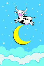 The Cow Jumped Over The Moon Lyrics From Hey Diddle Diddle Children Song Drawing Funny Cartoon Vector