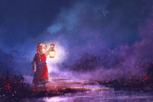 Little Girl With A Lantern At Night On The Wetlands, Painting
