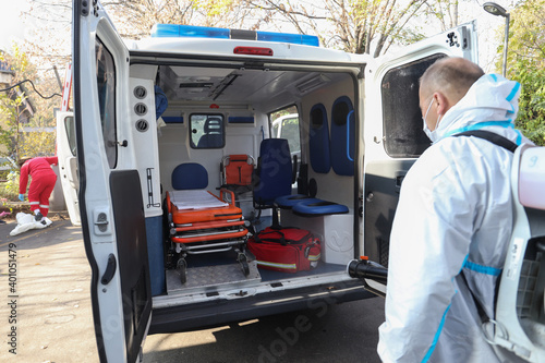 Obraz Cleaning and Disinfection for ambulance emergency transport - fototapety do salonu