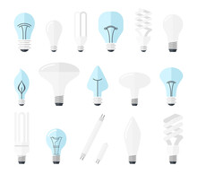 Illustration Of Main Electric Lighting Types Incandescent Light Bulb, Halogen Lamp, Cfl And Led Lamp. Flat Style.