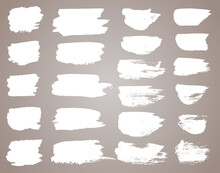 Set Of White Ink Stains. Black Paint, Ink Brush Stroke, Brush, Line Or Round Texture. Dirty Artistic Design Element, Box, Frame Or Background For Text.