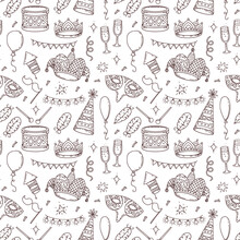 Carnival Seamless Pattern With Elements And Symbols In Doodle Style